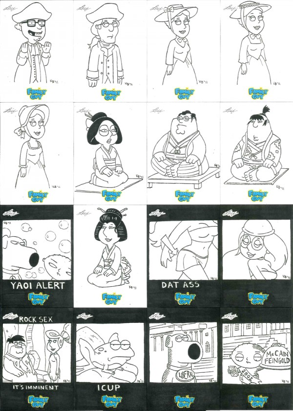 """Family Guy"" sketch cards"