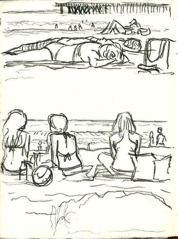 Santa Monica Beach 4th of July sketch