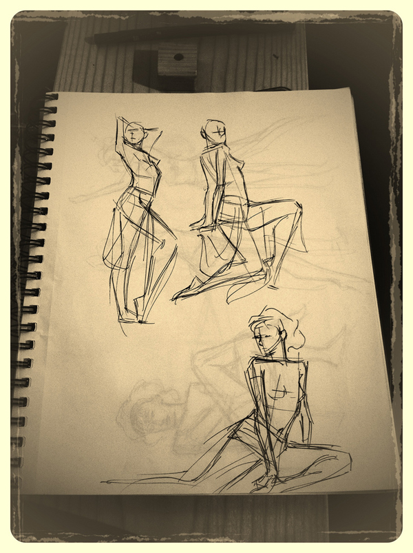"Figure drawings from April Connors's figure drawing workshop, themed ""Belly Dancer."""