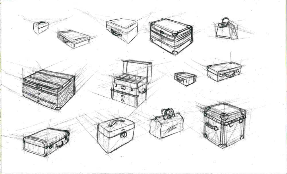 Sketches of antique luggage for Will Weston's Composition for Animation class at the Animation Guild.