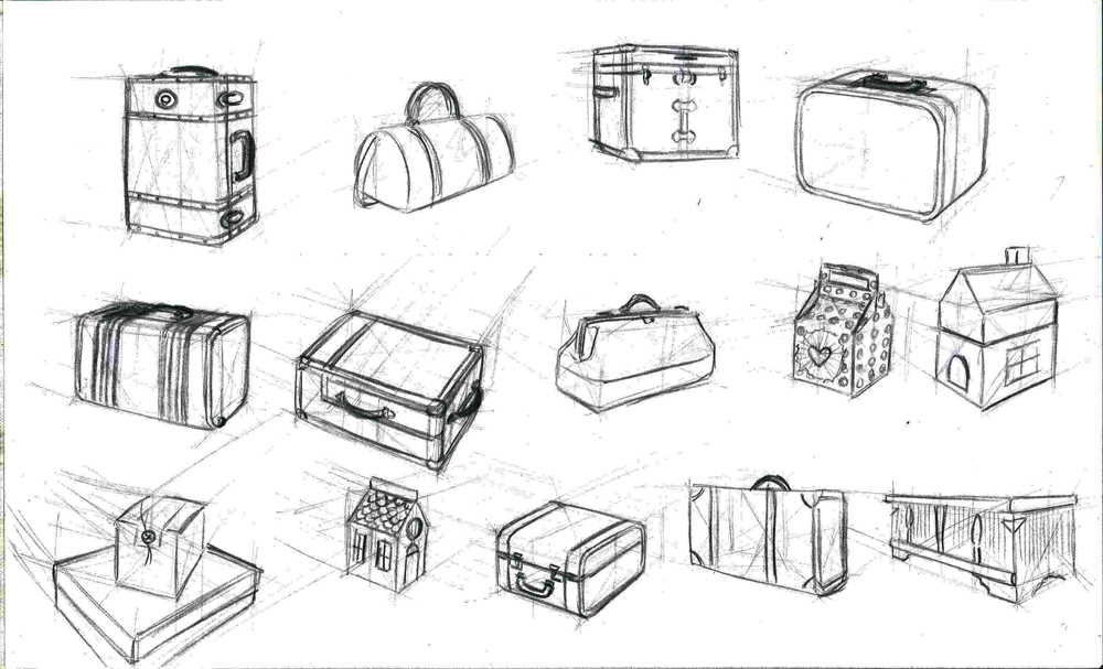 Sketches of antique luggage and gift boxes for Will Weston's Composition for Animation class at the Animation Guild.