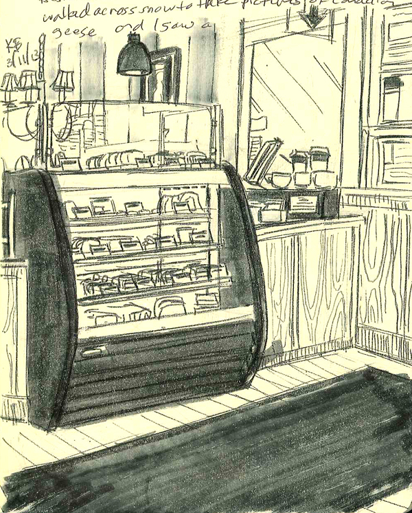 Sketch of the counter at L.A. Burdick in Harvard Square.