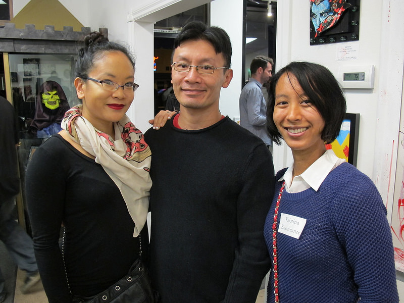 "Me with ""Pole Dancing Adventures"" artist/author Leen Isabel and ""Hiraku"" artist/author Nguyen Dong."