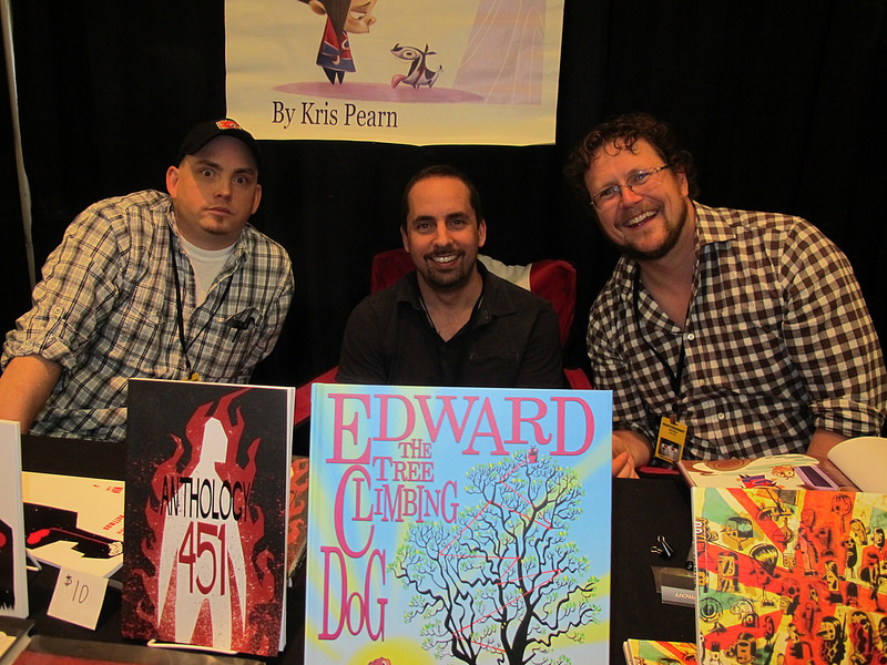 "Three of the seven contributors to the comic book ""Anthology 451."" Left to right: John Hoffman, Craig Berry, and Kris Pearn."